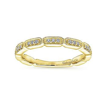 14k Yellow Gold Segmented Diamond Stackable Ring by Gabriel NY