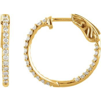 Diamond Hoops with 1ctw Inside Out Diamonds in 14k Yellow Gold