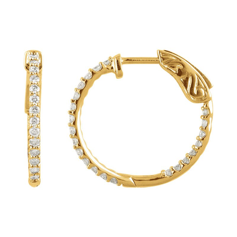 Signature Collection Diamond Hoops with 1ctw Inside Out Diamonds in 14k Yellow Gold