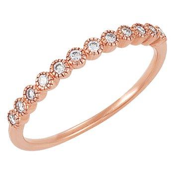 14k Rose Gold Wedding or Anniversary Ring with Bezel Set Diamonds - #41385