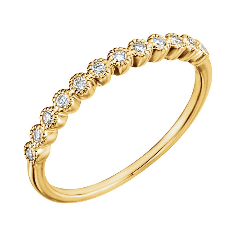 Signature Collection 14k Rose Gold Wedding or Anniversary Ring with Bezel Set Diamonds - #41385