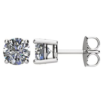 14k White Gold 4-prong Diamond Stud Earrings - 1.50ctw