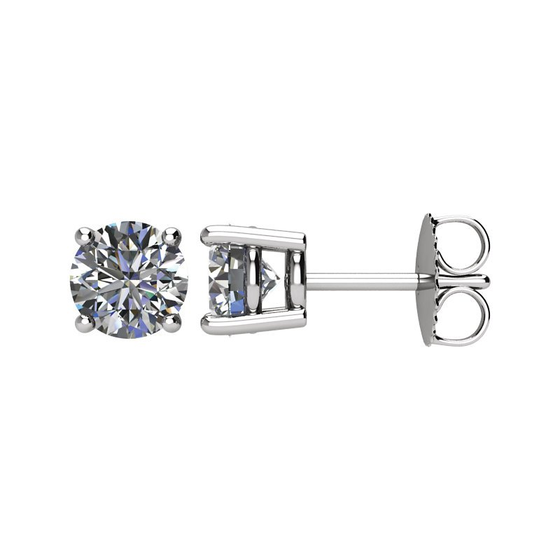 Signature Collection 14k White Gold 4-prong Diamond Stud Earrings - 1.50ctw