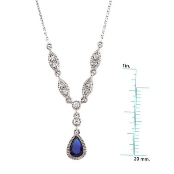 Genuine Sapphire & Diamond Necklace