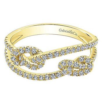 14k Yellow Gold Double Love Knot Diamond Ring by Gabriel NY