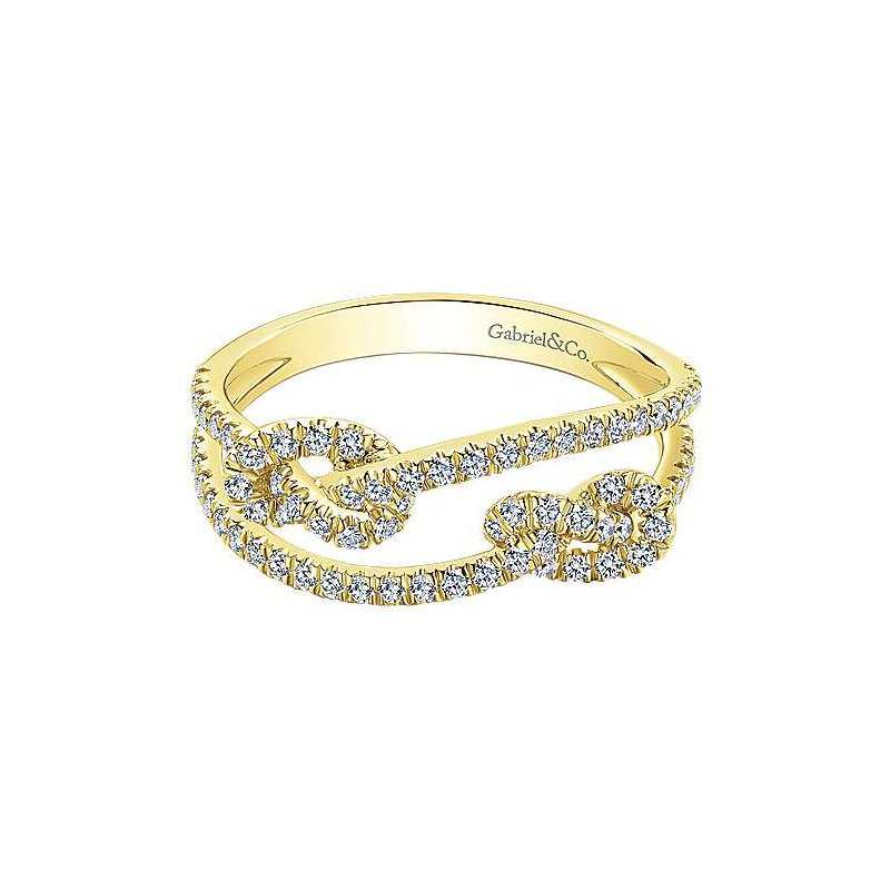 Signature Collection 14k Yellow Gold Double Love Knot Diamond Ring by Gabriel NY