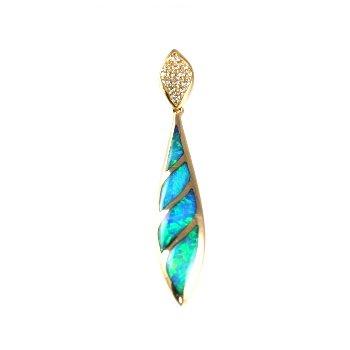 Kabana Australian Opal Inlay & Diamond Pendant