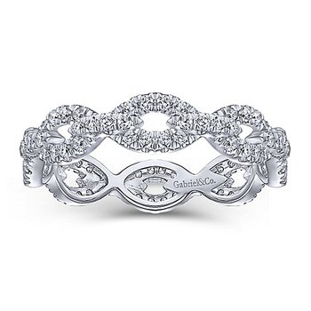 14k White Gold Eternity Stackable Diamond Ring by Gabriel NY - Style #LR51475E