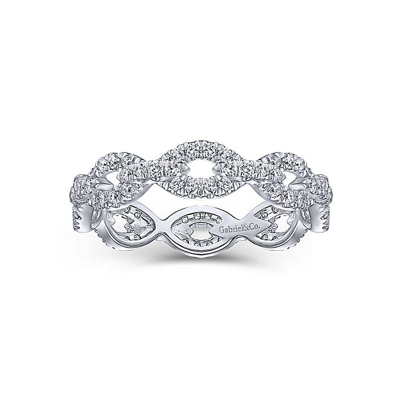Signature Collection 14k White Gold Eternity Stackable Diamond Ring by Gabriel NY - Style #LR51475E