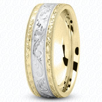Unique Settings M475 - Y - W - 14k Yellow and White Gold Fancy Carved Hand Engraved 7mm Men's Wedding Band