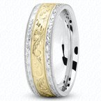 Unique Settings Unique Settings M475 - Y - W - 14k Yellow and White Gold Fancy Carved Hand Engraved 7mm Men's Wedding Band