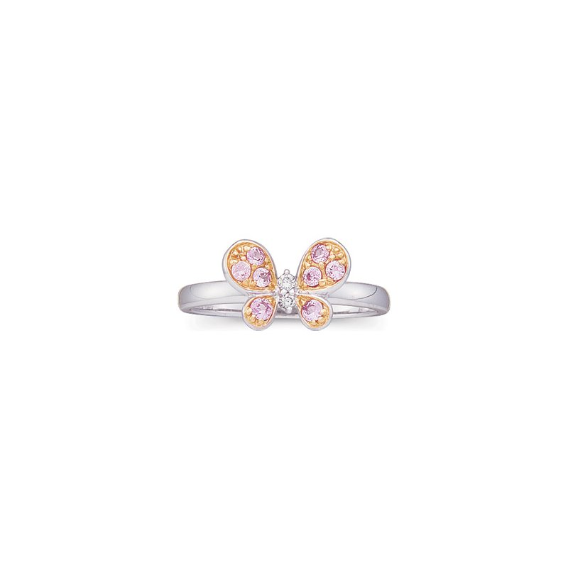 Signature Collection Genuine Pink Sapphire & Diamond Butterfly Ring