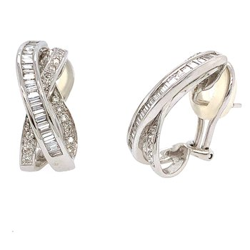 14k White Gold Round and Baguette Diamond Omega Back Earrings
