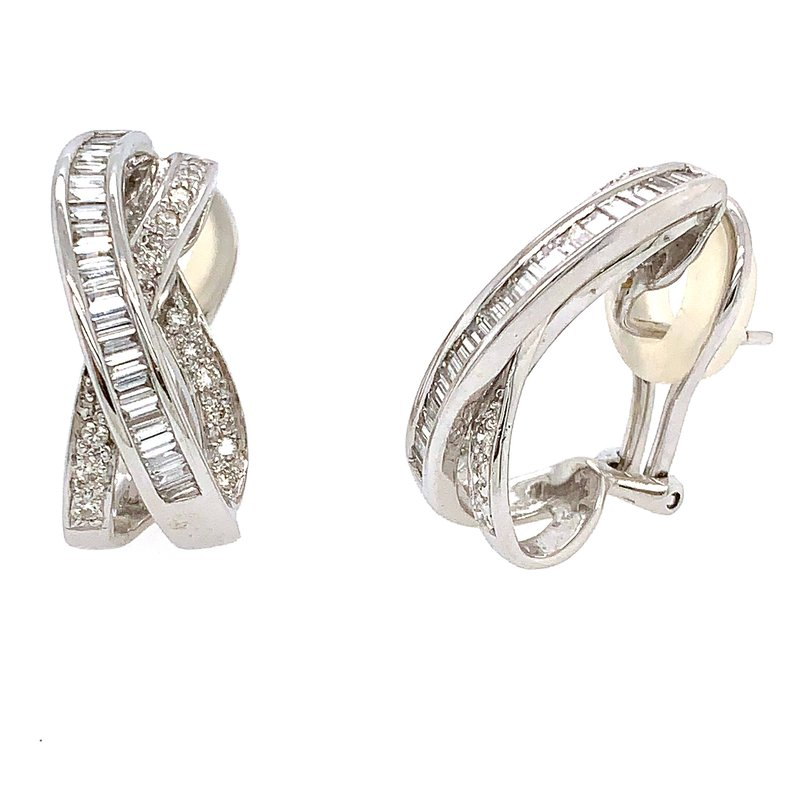 Signature Collection 14k White Gold Round and Baguette Diamond Omega Back Earrings
