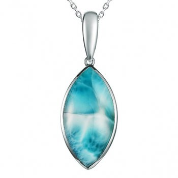Alamea Sterling Silver Basic Marquise Pendant with Larimar
