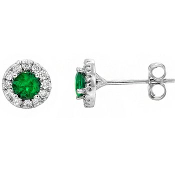 14k White Gold Halo Emerald & Diamond Stud Earrings