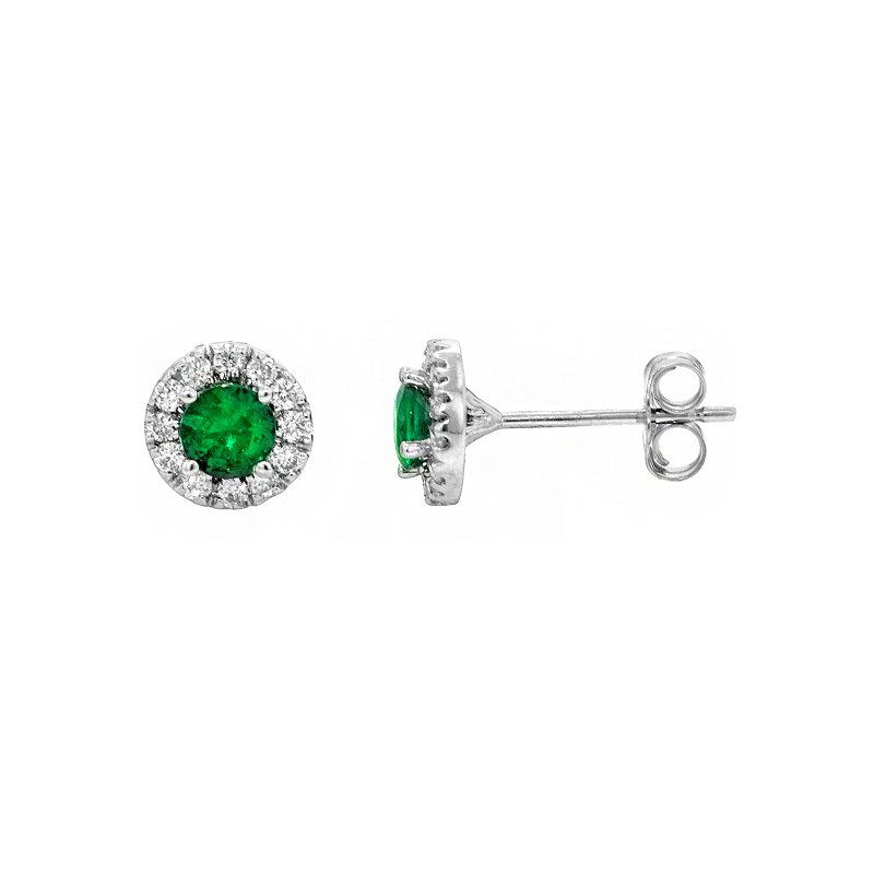 Signature Collection 14k White Gold Halo Emerald & Diamond Stud Earrings