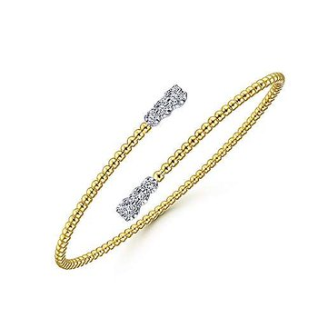 14k Yellow & White Gold Bangle with Diamond Caps by Gabriel NY