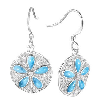 Alamea Sterling Silver Sanddollar Earrings with Larimar and Cubic Zirconia