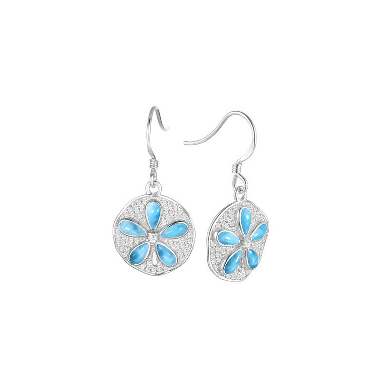 Alamea Larimar  Alamea Sterling Silver Sanddollar Earrings with Larimar and Cubic Zirconia