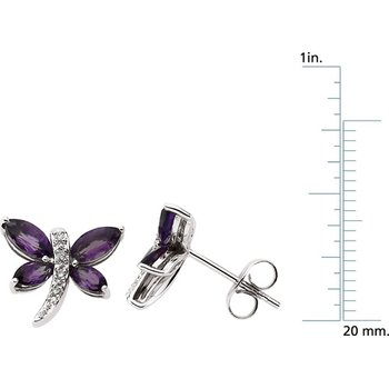 Genuine Amethyst & Diamond Dragonfly Earrings