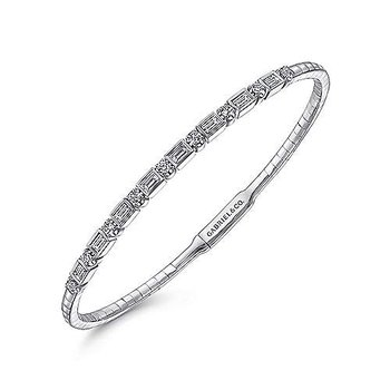 14k White Gold Alternating Baguette & Round Brilliant Diamond Bracelet by Gabriel NY