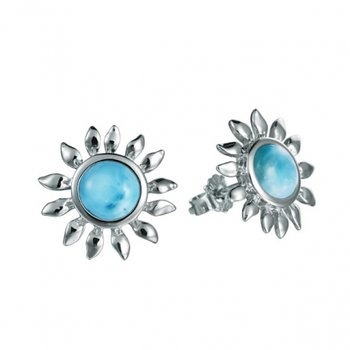 Sterling Silver Sunflower Earrings with Larimar