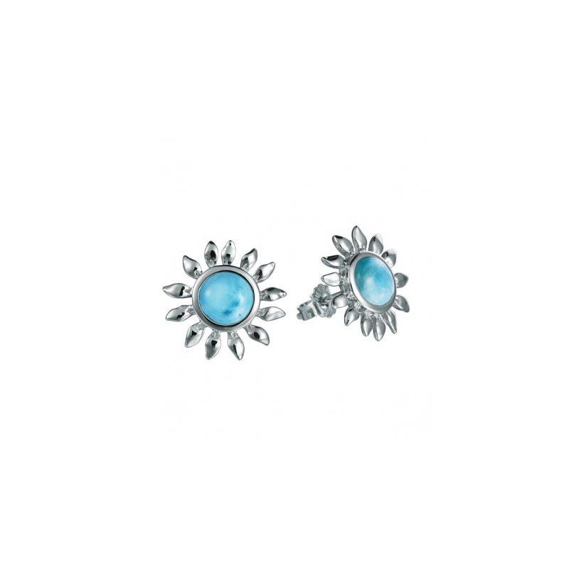 Alamea Larimar  Sterling Silver Sunflower Earrings with Larimar