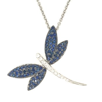 14k White Gold Sapphire and Diamond Dragonfly Pendant