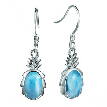 Larimar Pineapple Earrings in Sterling Silver by Alamea Hawaii
