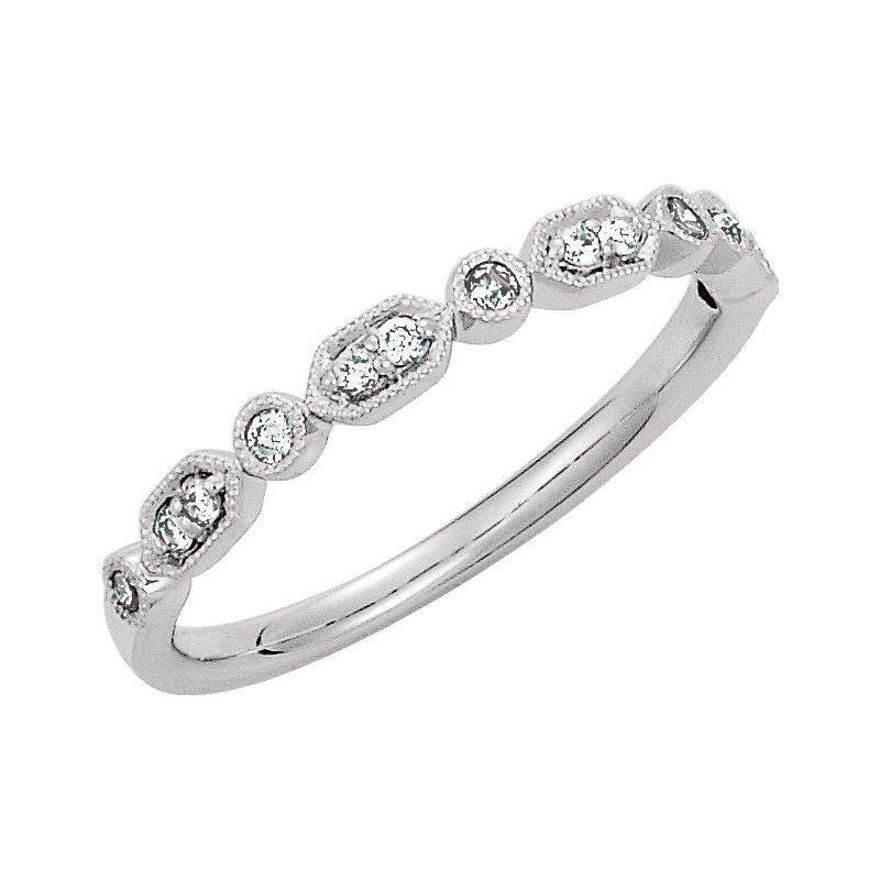 Signature Collection 14k White Gold Geometric Shapes Round Diamond Stackable Wedding or Anniversary Ring
