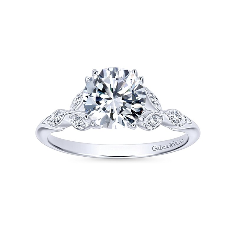 Gabriel NY Celia 14k White Gold Vintage Style Engagement Ring ER11721R4W44JJ