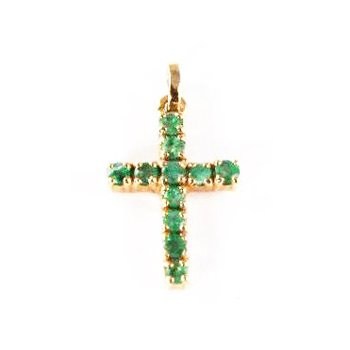 Genuine Emerald Cross Pendant in 14k Yellow Gold - 10117