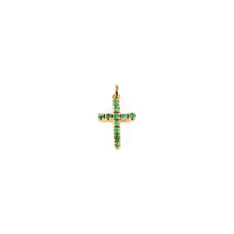 Signature Collection Genuine Emerald Cross Pendant in 14k Yellow Gold - 10117