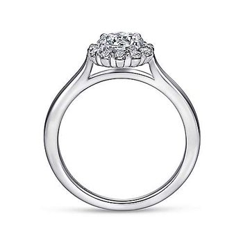 14k White Gold Round Halo Engagement Ring by Gabriel NY