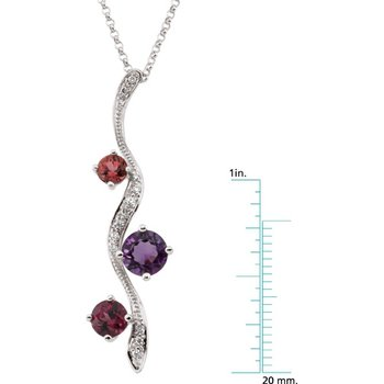 Genuine Rhodolite Garnet, Amethyst, Pink Tourmaline & Diamond Necklace