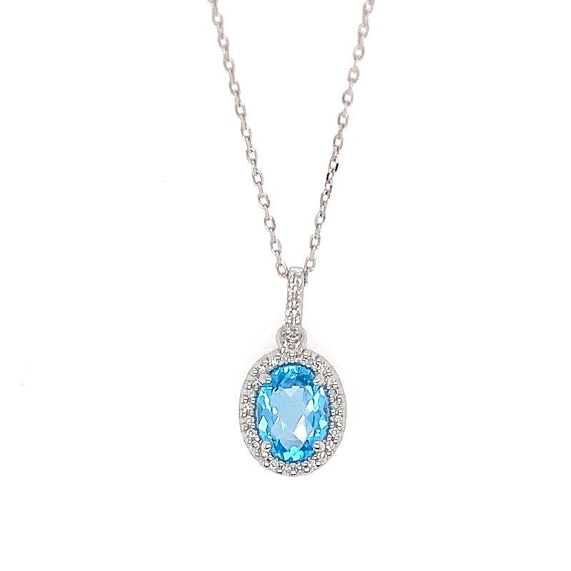 Signature Collection 14k White Gold Oval Halo Blue Topaz & Diamond Pendant