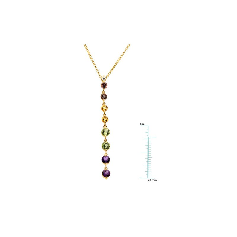 Signature Collection Genuine Pink Tourmaline, Citrine, Peridot, Amethyst & Diamond Necklace
