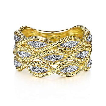 14k Yellow Gold Twisted Braided Diamond Wide Band Ring by Gabriel NY