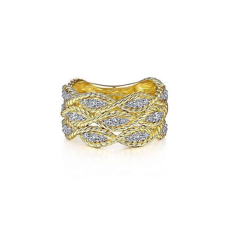 Signature Collection 14k Yellow Gold Twisted Braided Diamond Wide Band Ring by Gabriel NY