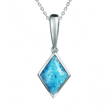 Alamea Collection Sterling Silver Larimar Rhombus Pendant