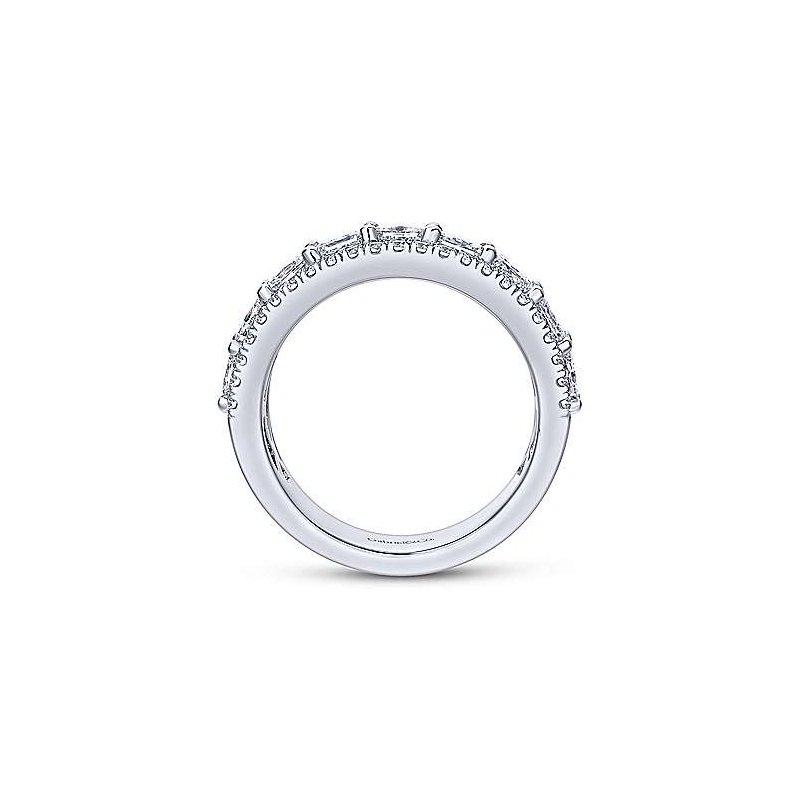 Gabriel NY 14k White Gold Princess Cut Fancy Anniversary Band Anniversary Ring by Gabriel NY