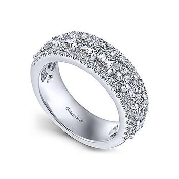 14k White Gold Princess Cut Fancy Anniversary Band Anniversary Ring by Gabriel NY