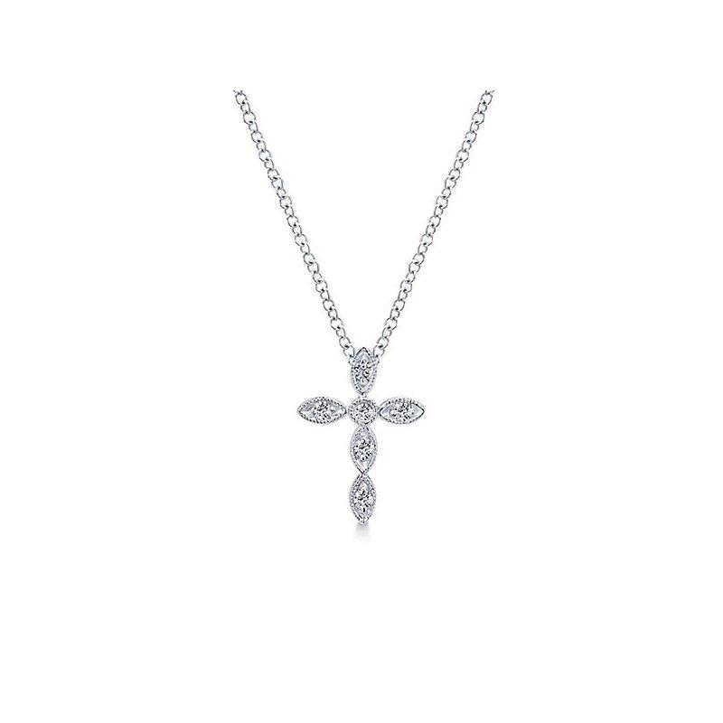 Crosses, Religious & Symbolic Jewelry Dainty 14k White Gold Cross by Gabriel NY with Diamonds Style #NK2210W45JJ