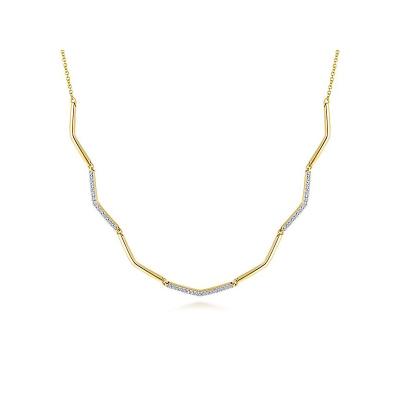Signature Collection 14k Yellow Gold Cascade Diamond Necklace by Gabriel NY