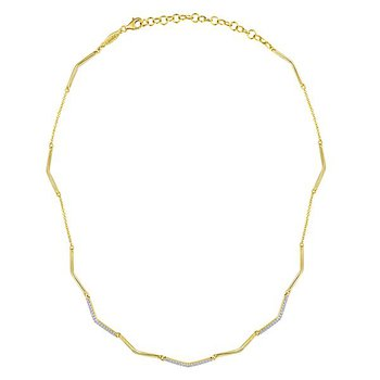 14k Yellow Gold Cascade Diamond Necklace by Gabriel NY