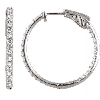 14k White Gold Inside Out Diamond Hoop Earrings - #E1CTW