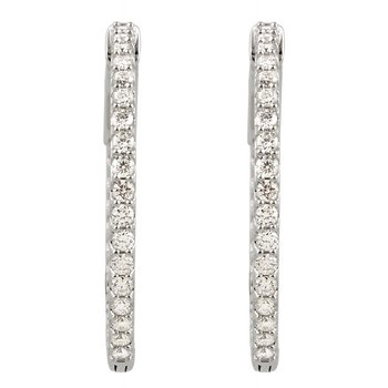 14k White Gold Inside Out Diamond Hoop Earrings - #E1CTW