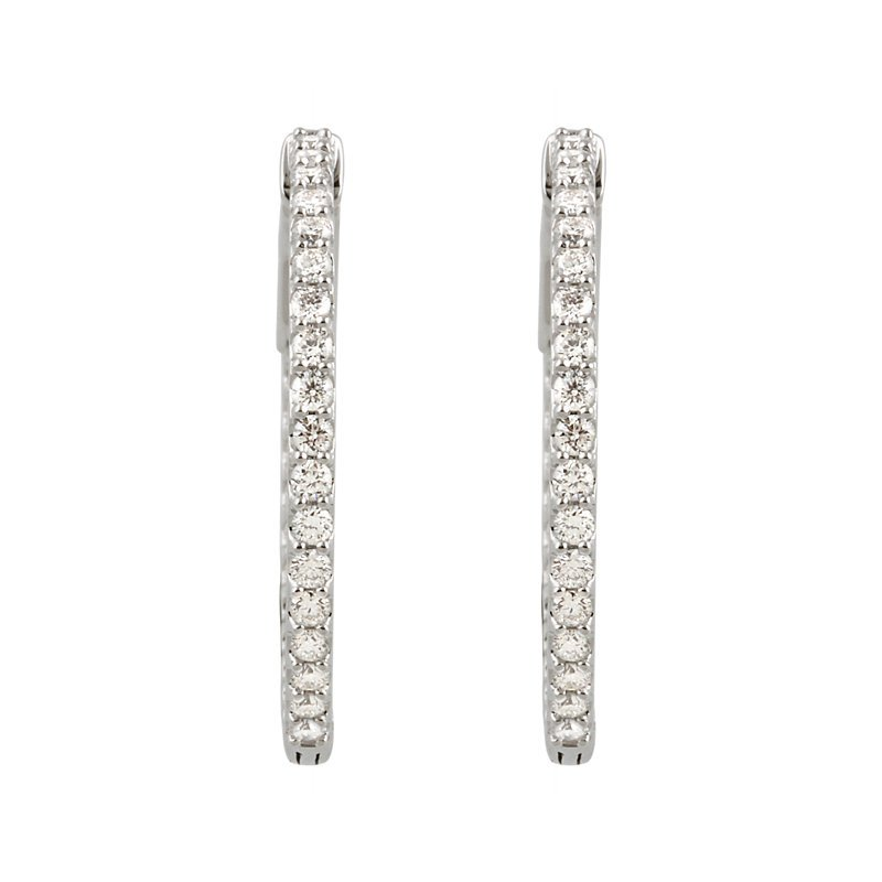 Signature Collection 14k White Gold Inside Out Diamond Hoop Earrings - #E1CTW