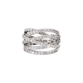 18k White Gold Criss Cross Diamond Ring